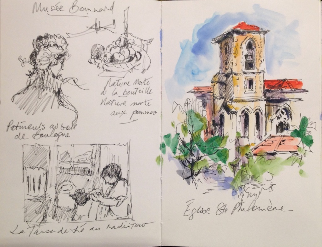 Sketches from Musée Bonnard, and of church in Le Cannet