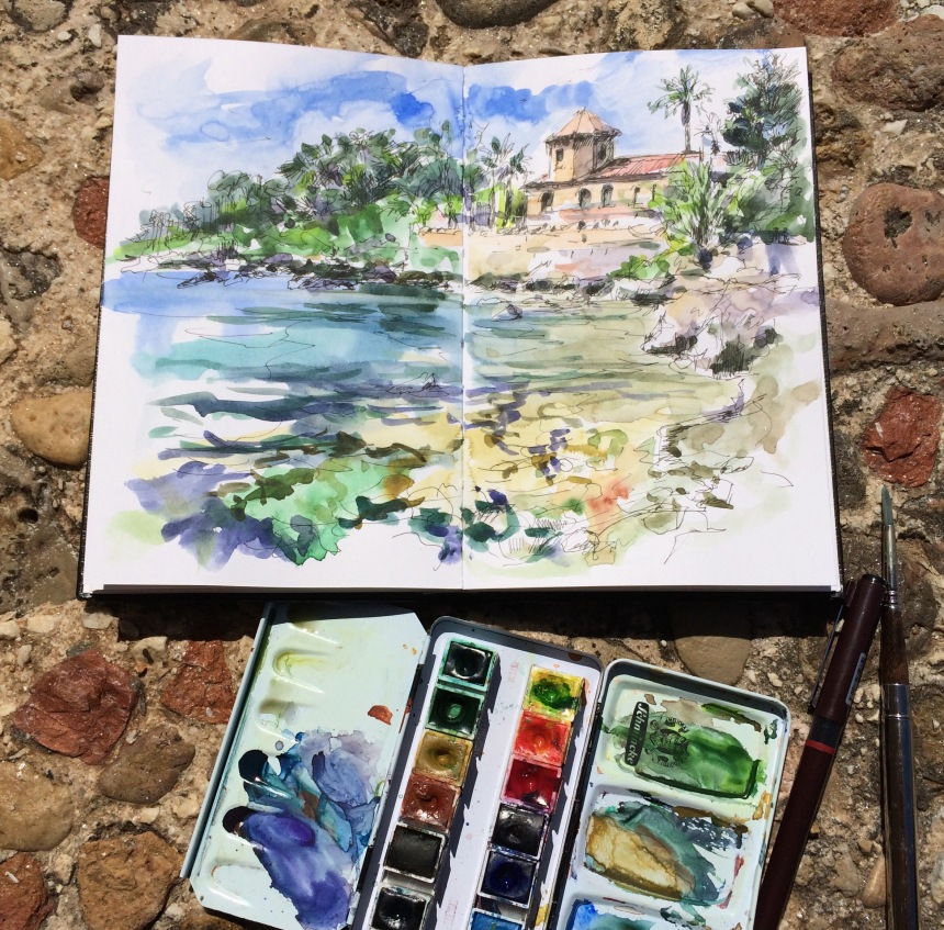 Simple tools - sketchbook, pen, watercolours